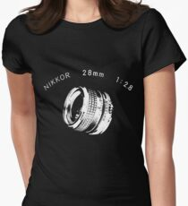 Nikkor 28mm White Women's Fitted T-Shirt