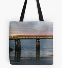 Wooden Walkway to the Jetty in Plymouth Harbor Tote Bag