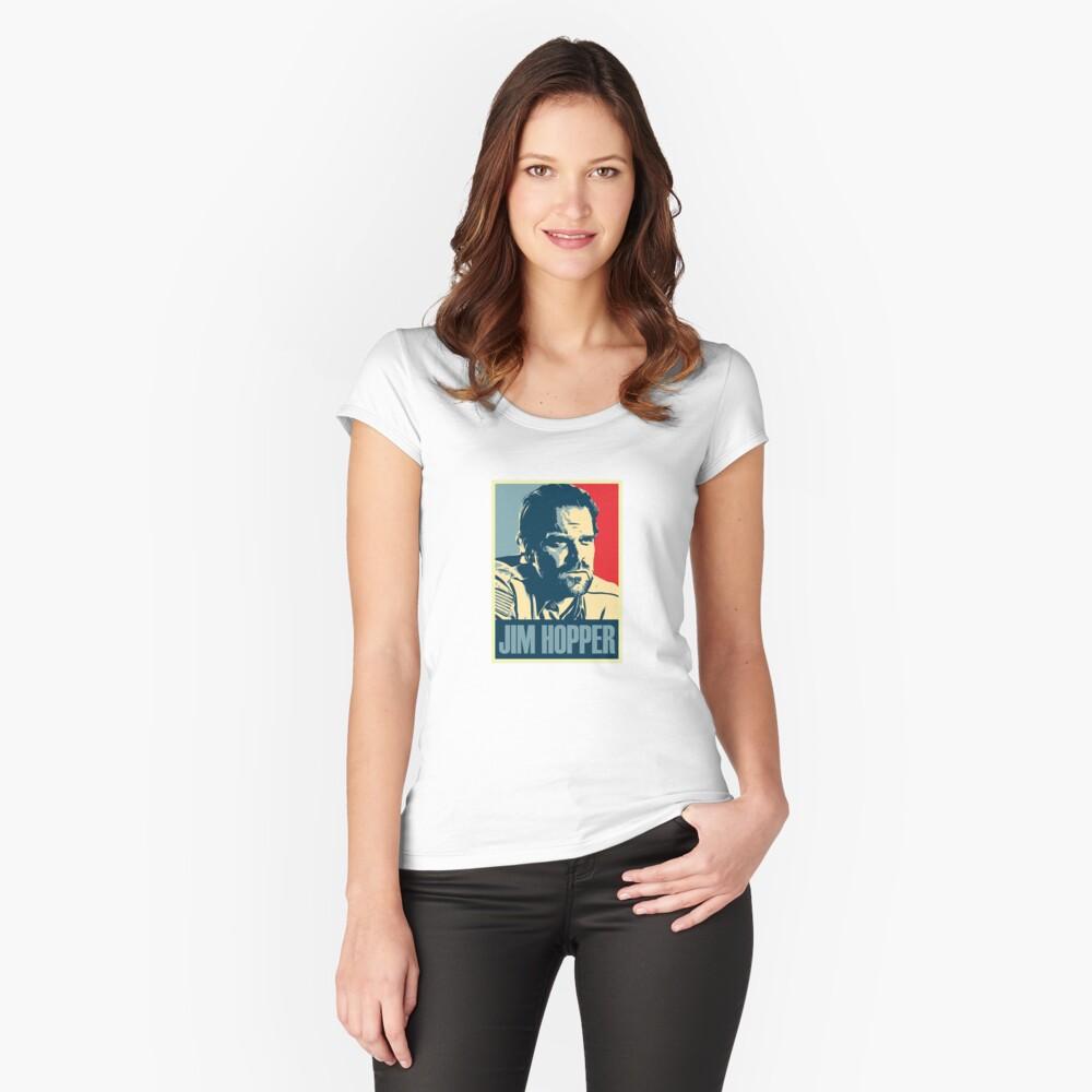 Jim Hopper Old School Stranger Things Fitted Scoop T-Shirt