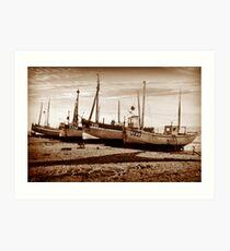 Fishing Boats on pebble beach Art Print