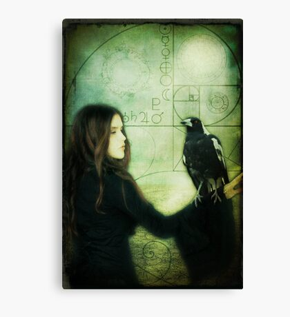 Girl with Magpie Canvas Print
