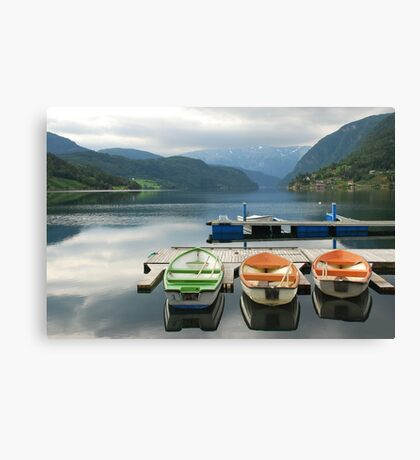 Rowboats in Ulvik - Norway Canvas Print