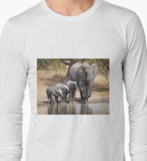 Elephant Mom and Babies Long Sleeve T-Shirt