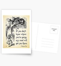 Alice in Wonderland Quote - Any Road - Cheshire Cat Quote - 0106 Postcards