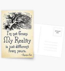 Alice im Wunderland-Zitat - meine Realität - Cheshire Cat Quote - 0105 Postkarten