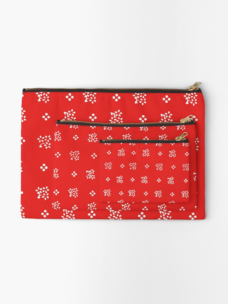 Alternate view of Historic vintage scatter flowers in a modern bright red Zipper Pouch