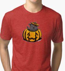 Cute Pumpkin Cat Halloween Tri-blend T-Shirt
