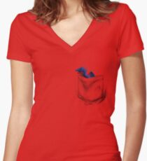 Little Dragon In My Pocket 1 - Blue Women's Fitted V-Neck T-Shirt