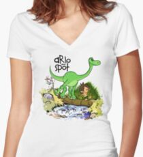 Arlo and Spot  Women's Fitted V-Neck T-Shirt