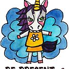 Be Present: Unicorn Drawing Watercolor Illustration by mellierosetest