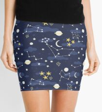 cosmos, moon and stars. Astronomy pattern Mini Skirt