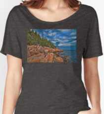 USA. Maine. Acadia National Park. Rugged Coastline. Women's Relaxed Fit T-Shirt