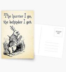 Alice im Wunderland-Zitat - der Hurrier, den ich gehe - weißes Kaninchen-Zitat - 0125 Postkarten
