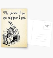 Alice in Wonderland Quote - The Hurrier I Go - White Rabbit Quote - 0125 Postcards