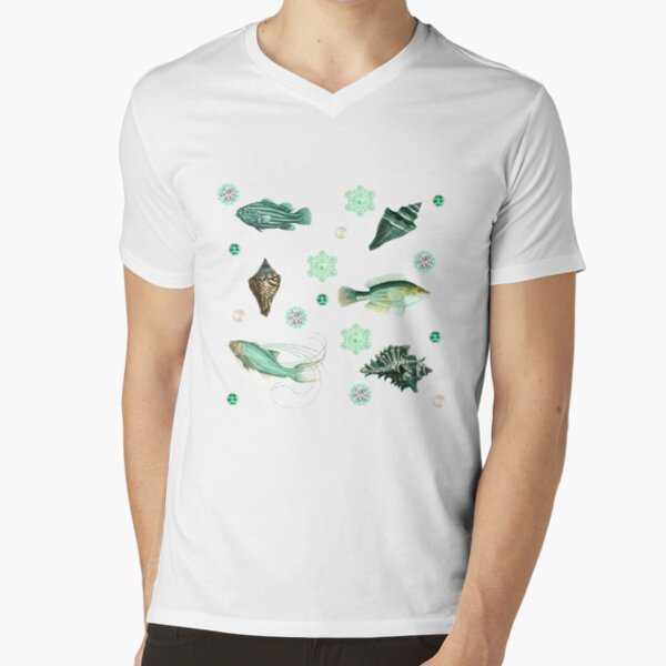 Shells, fishes and Pearls V-Neck T-Shirt
