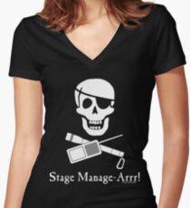 Stage Manage-Arrr! White Design Women's Fitted V-Neck T-Shirt