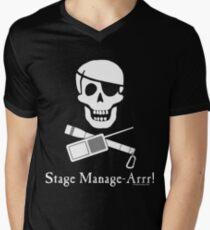 Stage Manage-Arrr! White Design V-Neck T-Shirt