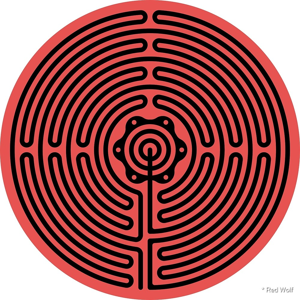 Geometric Pattern: Labyrinth: Red Dark by * Red Wolf