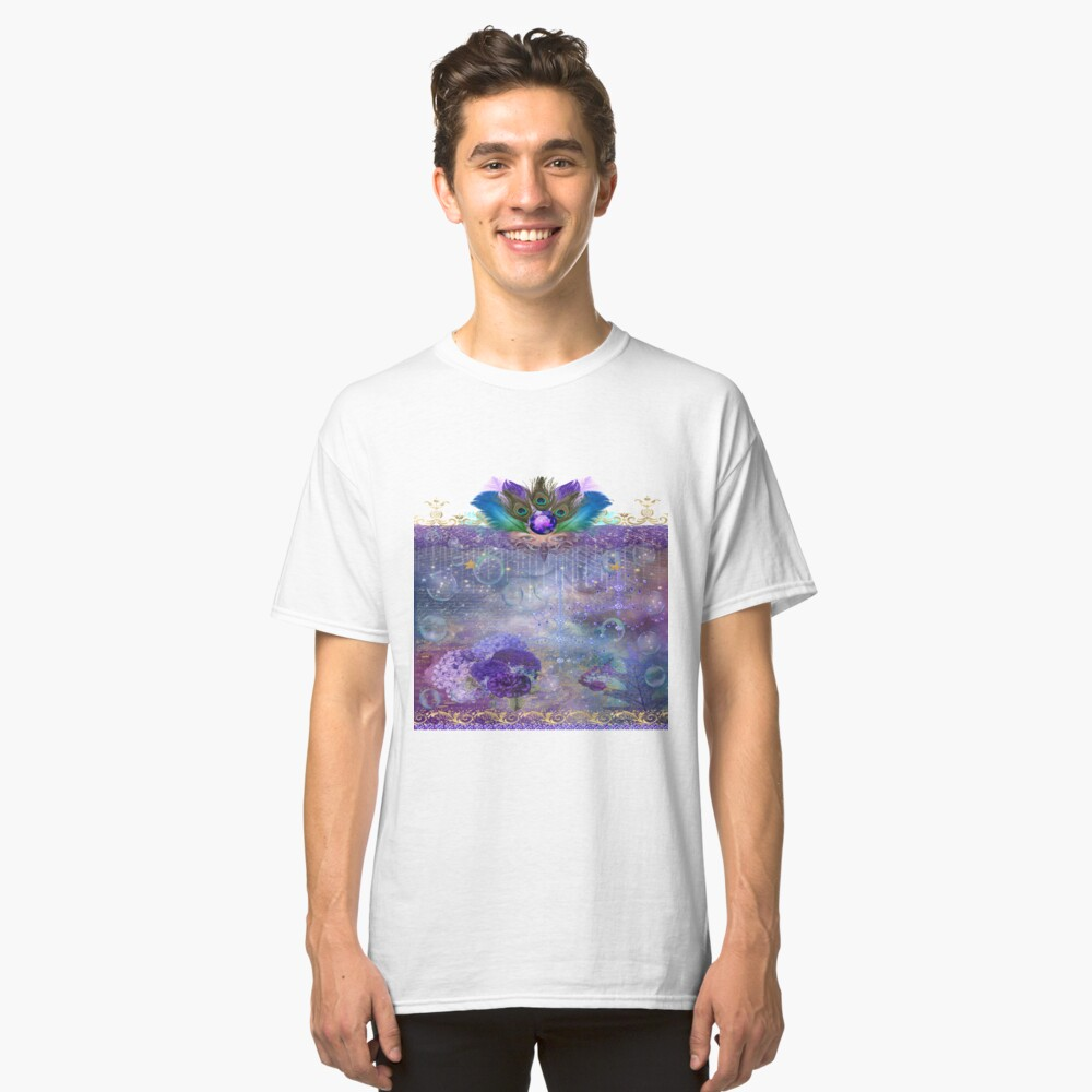 Peacock Queen Whimsical Bubble Realm Classic T-Shirt