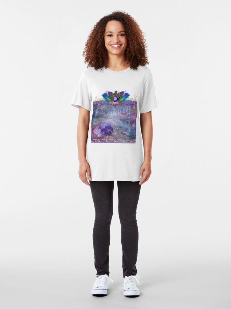 Alternate view of Peacock Queen Whimsical Bubble Realm Slim Fit T-Shirt