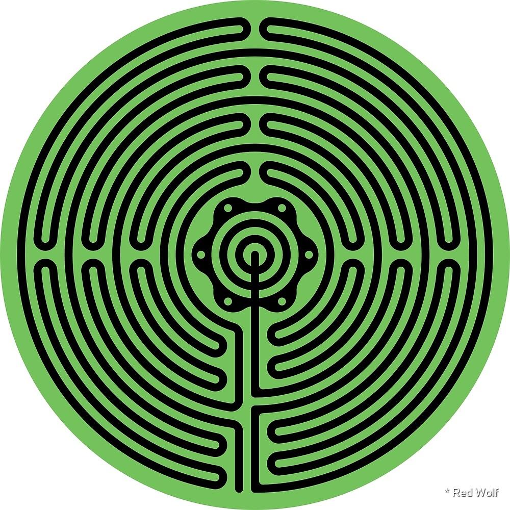 Geometric Pattern: Labyrinth: Green Dark by * Red Wolf