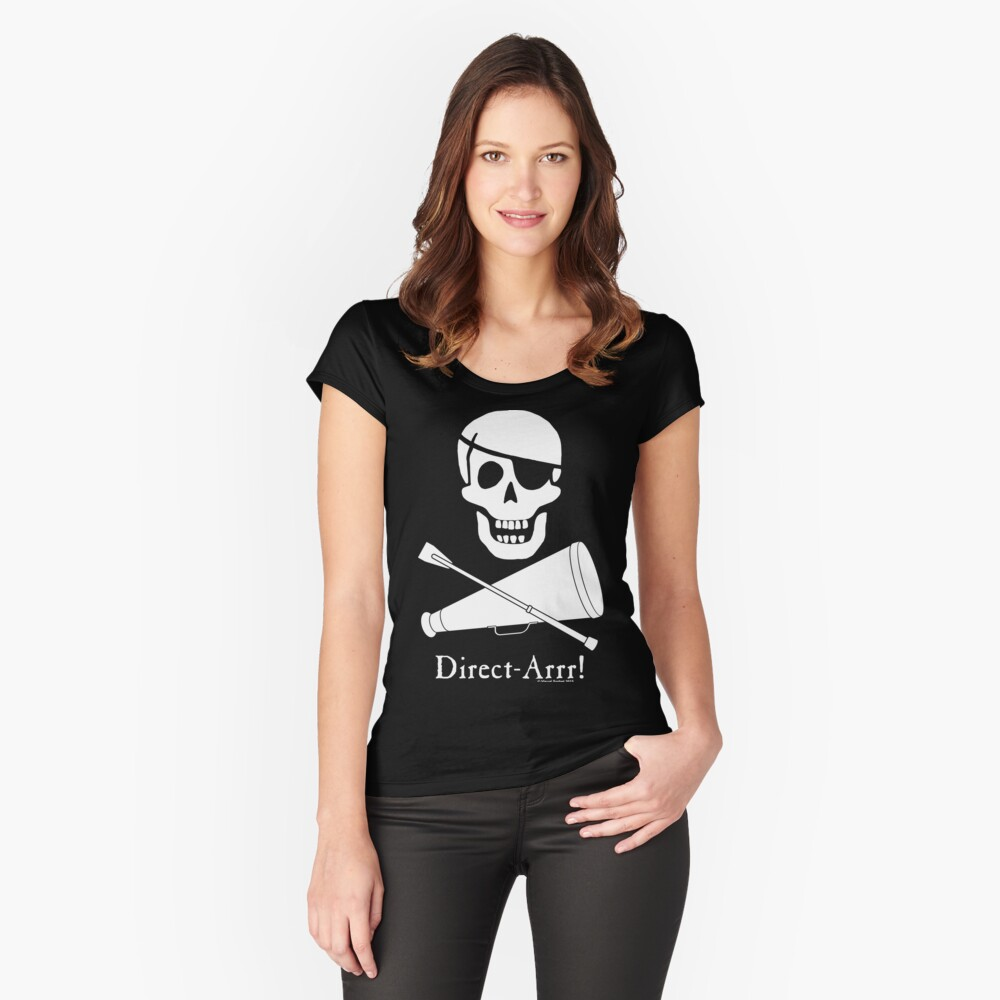 Direct-Arrr! White Design Fitted Scoop T-Shirt