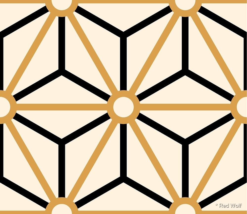 Geometric Pattern: Art Deco Star: Gold/Black/Cream by * Red Wolf