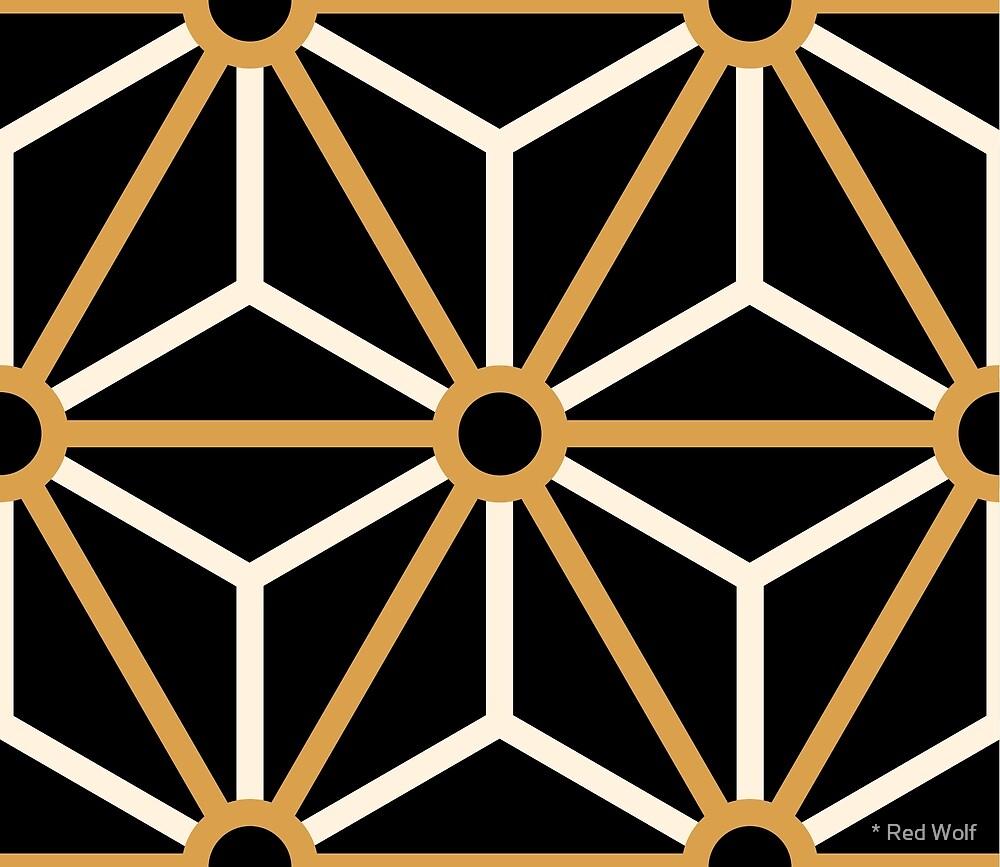 Geometric Pattern: Art Deco Star: Gold/Cream/Black by * Red Wolf