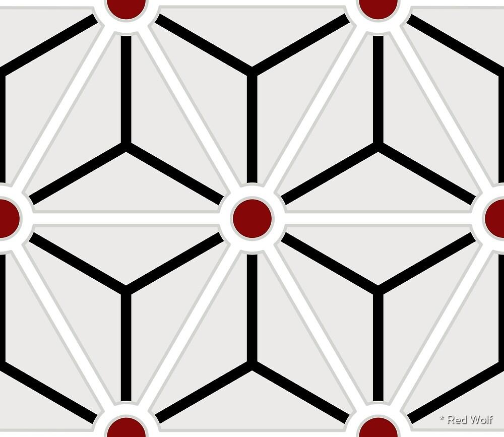 Geometric Pattern: Art Deco Star: Brookelyn Zammit: Red by * Red Wolf
