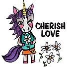 Cherish Love: Unicorn Drawing Watercolor Illustration  by mellierosetest