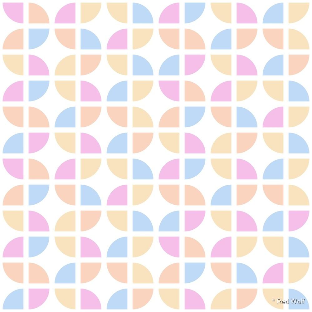 Geometric Pattern: Quarter Circle: Pop Pastel by * Red Wolf