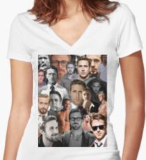 Ryan Gosling Collage Fitted V-Neck T-Shirt