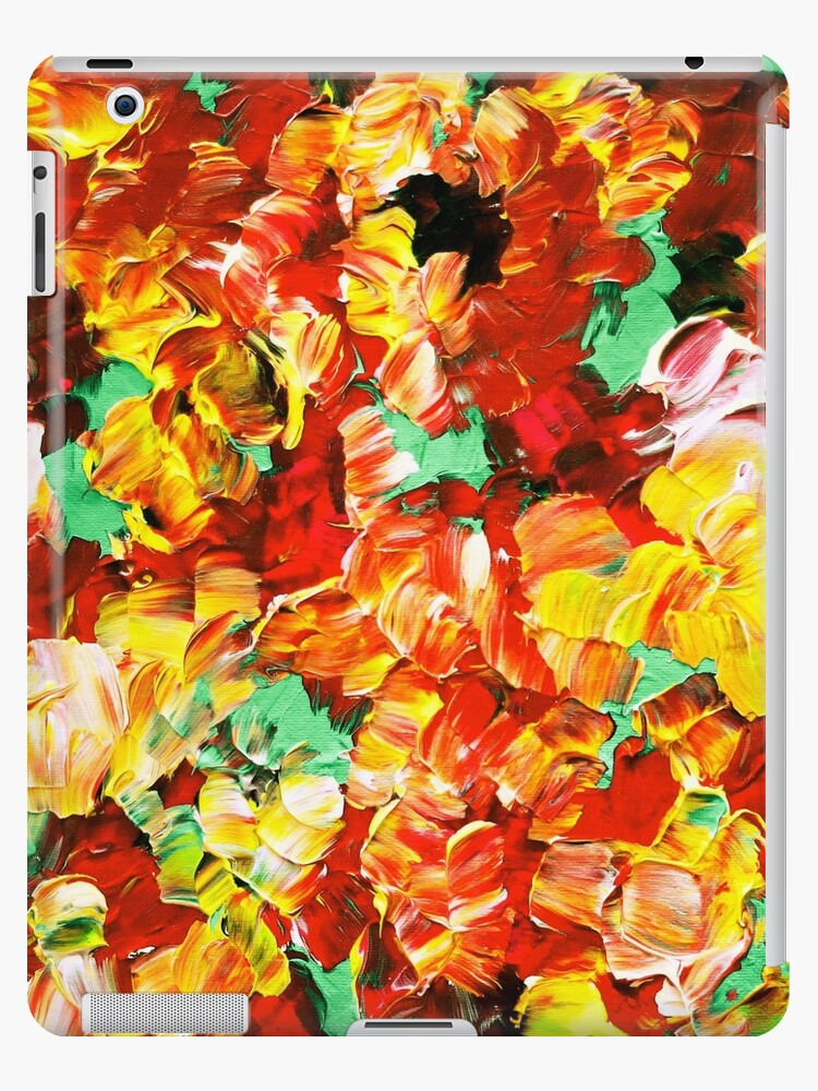 Floral Fantasy 3 Bold Abstract Flowers Acrylic Textural Painting Sunshine Yellow Rust Red Green Art Ipad Case Skin By Ebiemporium