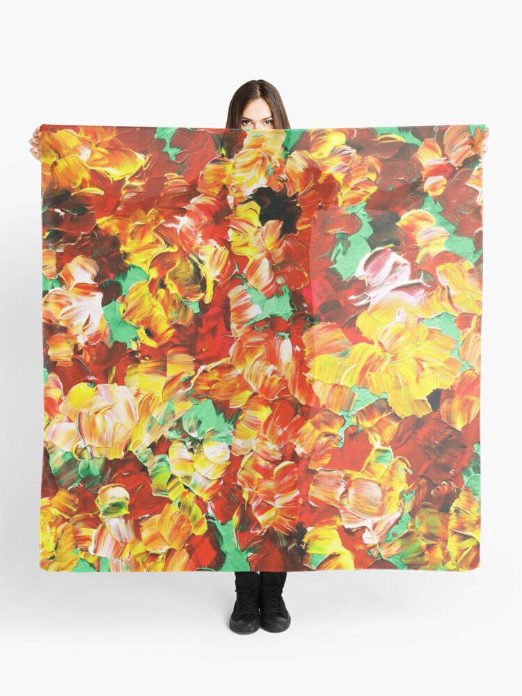 Floral Fantasy 3 Bold Abstract Flowers Acrylic Textural Painting Sunshine Yellow Rust Red Green Art Scarf