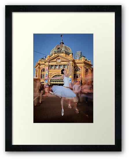 Melbourne Ballet Co Ballerina at Flinders St Station by Chris Dowd