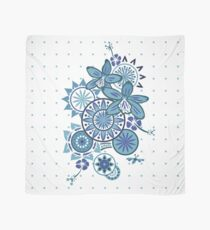 Tropical Blues Orchids & Wheels Scarf