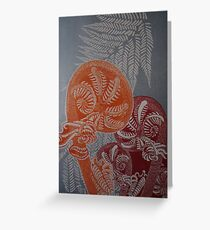Tree ferns in orange and red. Greeting Card