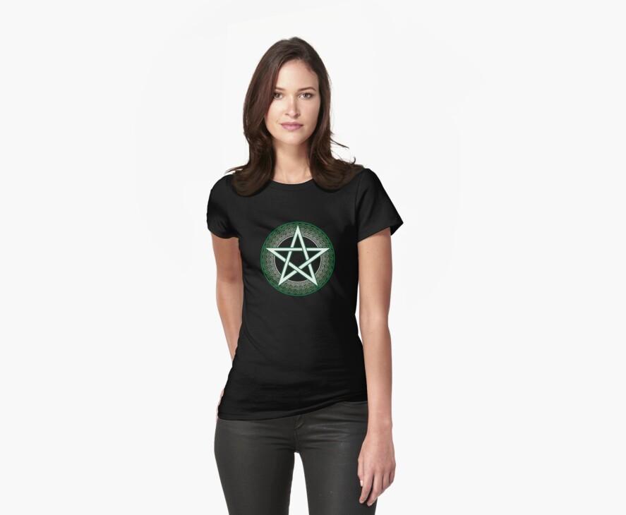 Green Celtic Pentagram by Nicola McIntosh