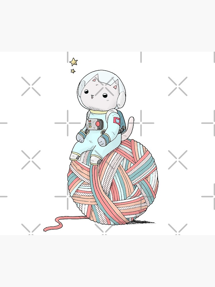 Space Cat on Planet Yarn Ball by Tamito