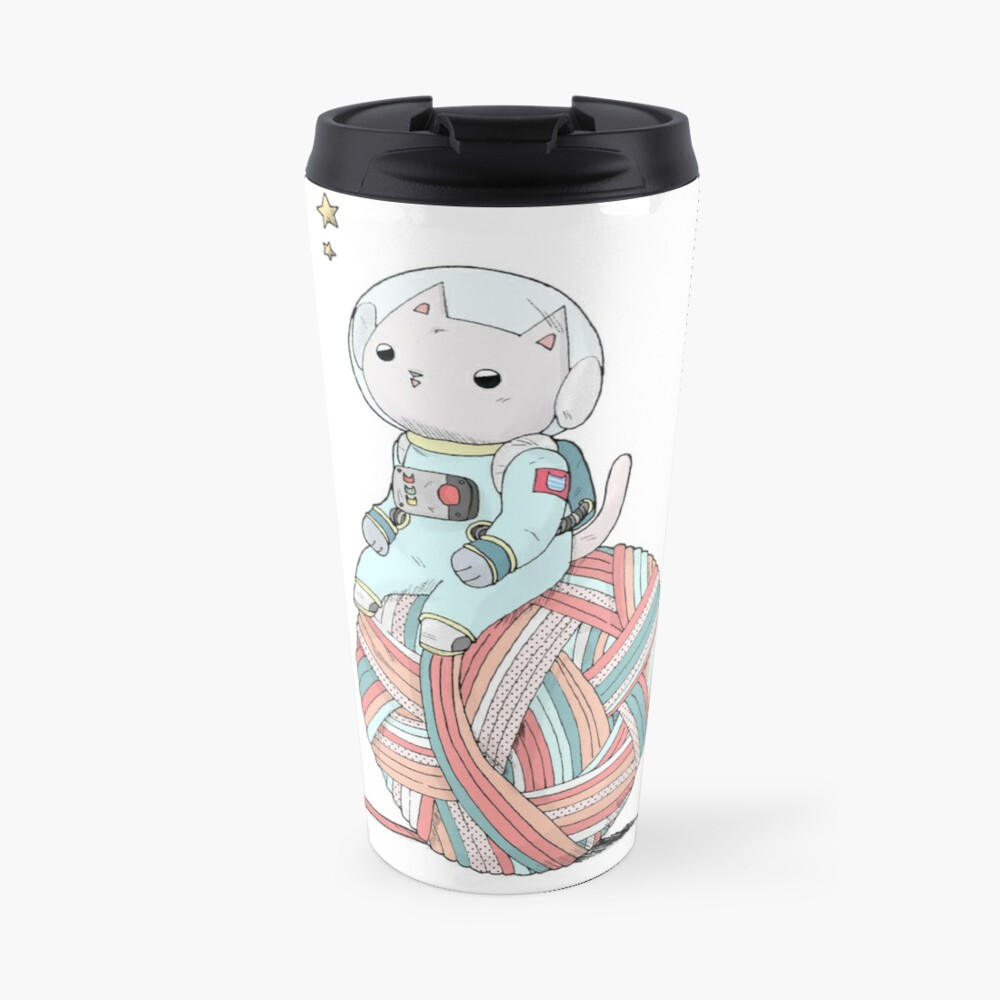 Space Cat on Planet Yarn Ball Travel Mug