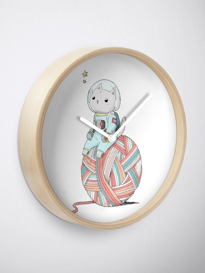 Alternate view of Space Cat on Planet Yarn Ball Clock
