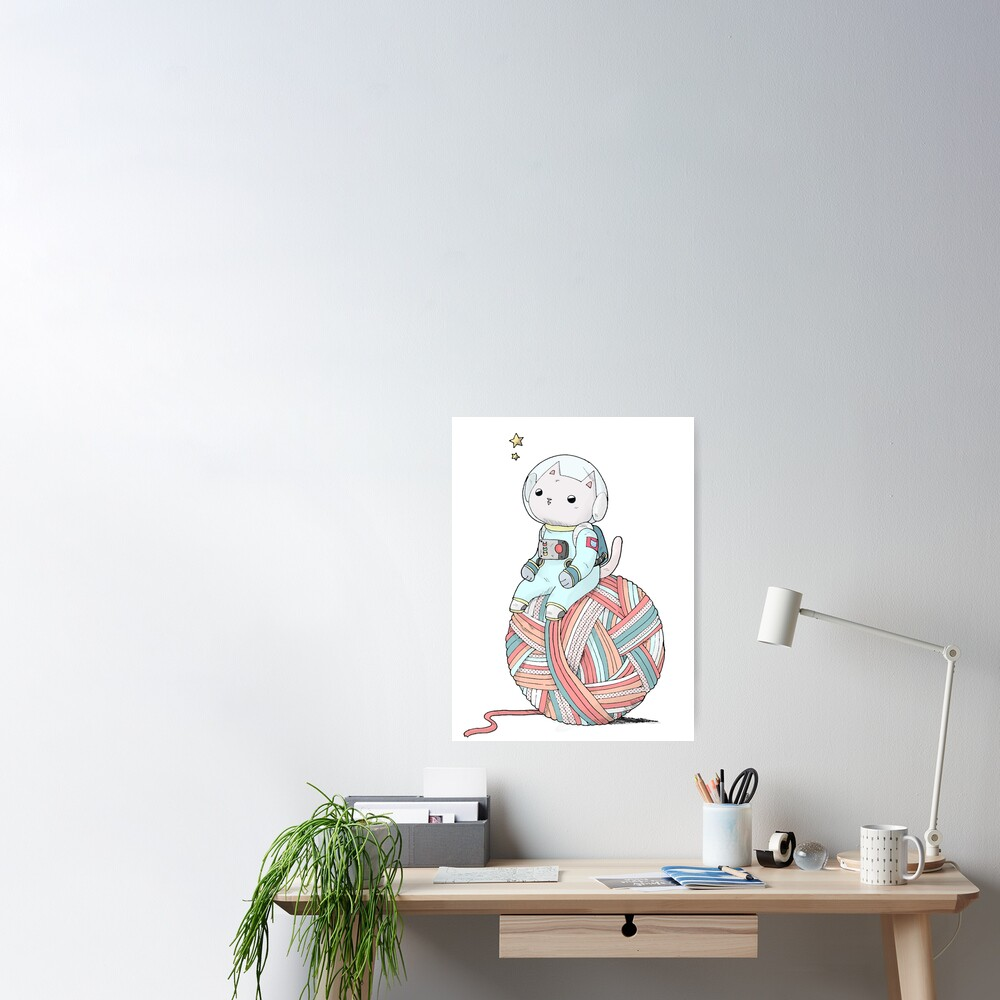 Space Cat on Planet Yarn Ball Poster
