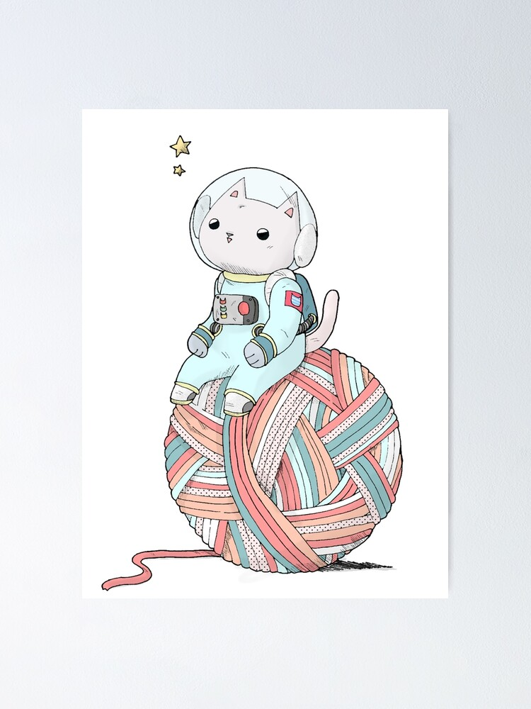 Alternate view of Space Cat on Planet Yarn Ball Poster