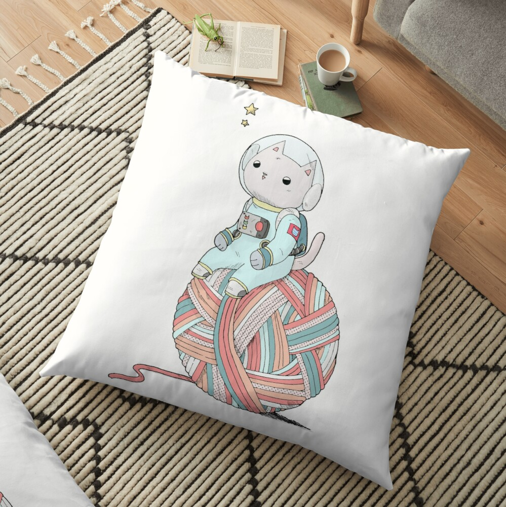 Space Cat on Planet Yarn Ball Floor Pillow