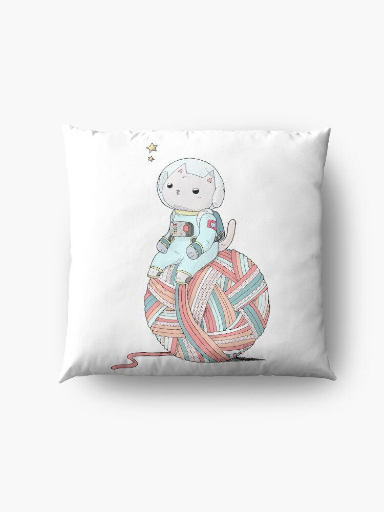 Alternate view of Space Cat on Planet Yarn Ball Floor Pillow