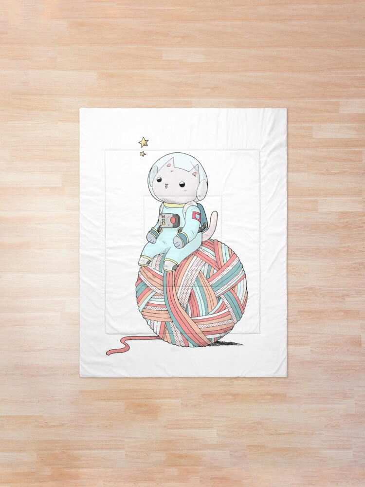 Alternate view of Space Cat on Planet Yarn Ball Comforter