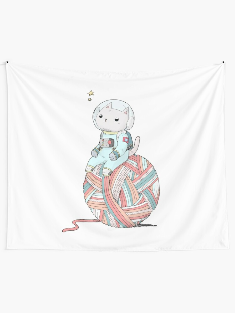 Alternate view of Space Cat on Planet Yarn Ball Tapestry