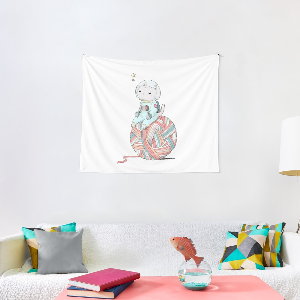 Space Cat on Planet Yarn Ball Tapestry