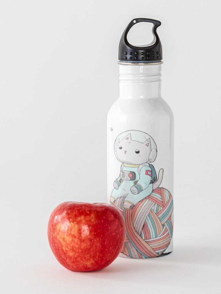 Alternate view of Space Cat on Planet Yarn Ball Water Bottle