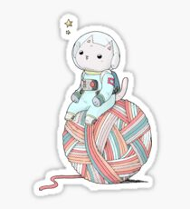 Space Cat on Planet Yarn Ball Sticker